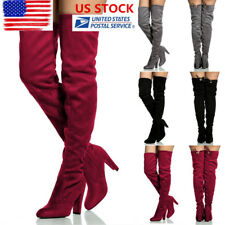 US Women Lace up Long Stretch Over the Knee Boots High Heeled Boots Zipper Shoes