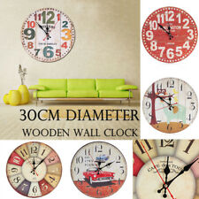 Vintage Rustic Wooden Wall Clock Home Antique Shabby Chic Kitchen Decor Clocks