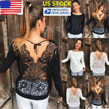 Womens Backless Cut Out Lace Tops Long Sleeve See Through Blouse Shirt Pullover