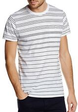 French Connection Stripe Fashion T-Shirt White Maine Blue Slim Fit Cotton Tee