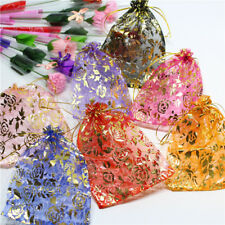 Wedding Candy Pouches Bronzing rose pattern Candy gauze bag Jewelry Organza Bags