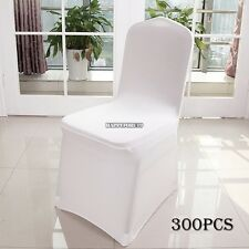 300x White Chair Cover Spandex Lycra Wedding Banquet Anniversary Party Decor US