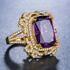 18 k Yellow Gold Plated Gorgeous Jewelry Purple Amethyst Wedding Ring Size 6-10
