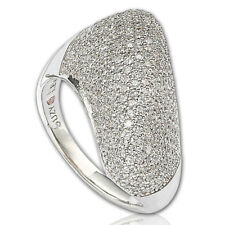 Suzy Levian Sterling Silver Pave Cubic Zirconia Diagonal Pave Ring