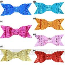 1PCS Mixed Color Sequin Big Bowknot Hair Clips Accessories For Kid Girl 10x4cm