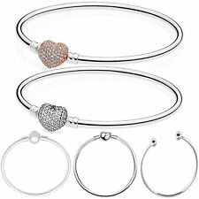 European Charm Silver Bangles Bracelets Fit DIY 925 sterling Beads Pendant