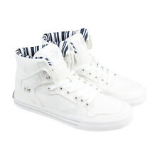 Supra Vaider Mens White Canvas High Top Lace Up Sneakers Shoes