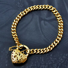 "9K Yellow Gold Filled Bracelet Euro Chain With Fine Heart Locket ""Stamp 9K"""