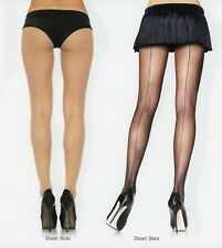 Leg Ave 9002 X Sheer Pantyhose Matching Back Seams Plus 1X Queen Black or Nude