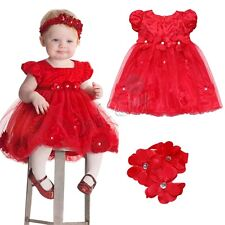Baby Girls Tutu Dress Headband Set Christmas Outfit Costume Xmas Holiday Dresses