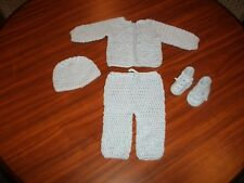 New 4 PcHandmade Crochet Baby Sweater Set Size 0-3 Months Choose Color From Menu