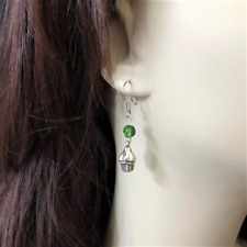 Silver Cupcake Dangle Earrings with Swarovski Crystals Green Red Blue Tiny