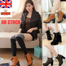 UK Womens Lace Up Block Chunky Heels Fashion Punk Ankle Boots Casual Shoes Size