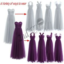 Women's Mesh Wedding Bridesmaid Long Evening Party Cocktail Ball Prom Gown Dress
