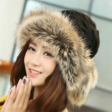 Women Winter Hats Double Used Scarf Cap Knitted Fur Wool Bonnet Beanies For Girl