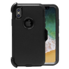 For Apple iPhone X Case Cover - Black (Belt Clip Fits Otterbox Defender Series)