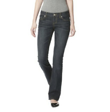 Womens Mossimo Slim Fit Bootcut Jeans Lowest Rise Denim Dirty Wash Dark Blue