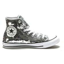 Converse CT All Star Hi Sequins Womens Silver High Tops Boots Size 4-8