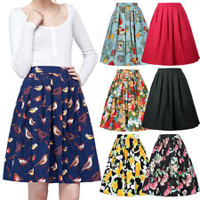 Women Retro Vintage 1950s 60s Pleated Floral Skirt High Waist A-Line Swing Dress