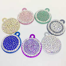 Personalized Rhinestone ~Round Pink Blue Purple Engraved Pet Cat Dog ID Tag USA