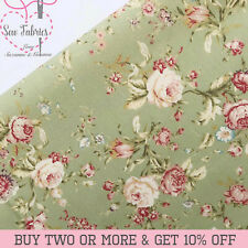 100% Cotton Ivory Floral Fabric Rose and Hubble Vintage, Sewing, Quilting, Craft