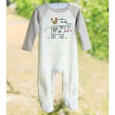 Mud Pie E7 Farmhouse Baby Boy Cow & Rooster One-Piece Footed Sleeper 1032323