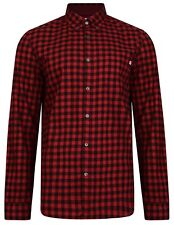 Timberland Mens Cotton Flannel Check Shirt Slim Long Sleeve Button Down Red