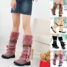 Womens Mid-Calf Knee Low Heel Boots Winter Pom Pom Warm Plush Boots Shoes Size