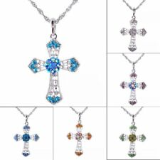 Fashion Crystal Cross Charm Pendant Necklace Sweater Chain Women Jewelry Gift