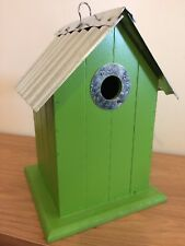 Wood Beach Bird House Nesting Box with Metal Corrugated Roof and Hanging Loop