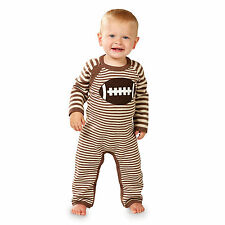 Mud Pie MH6 All Boy Baby Football Sweater Coverall One-Piece 1032297
