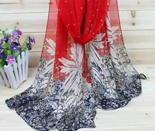 Women Scarves Silk Chiffon Polyester Floral Prints Ladies Adult Shawl Accessory