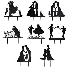 Bride and Groom Cake Topper Acrylic Silhouette Wedding Cake Topper Decor 1Pc