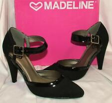 "MADELINE ""Latricia"" Black Patent Leather Trim Ankle Strap Pump sz 7.5 new in box"