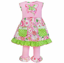 AnnLoren Girls Pink & Green Butterfly Dress and Capri Set sz 12/18 mo-9/10