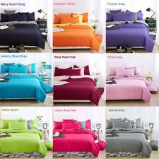 King and Queen Bed Duvet quilt cover Flat sheet & Pillowcases SET Various colors