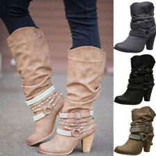 Womens Rivet Buckle Pumps Chunky Hippy Mid-calf Slouch Boots Party Shoes Size