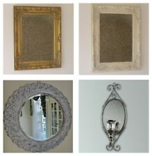 Vintage Wall Mounted Bevelled Mirror Carved Effect Resin Shabby Frame White Gold