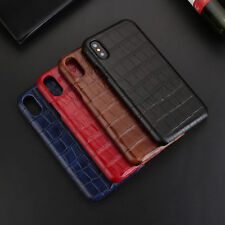 For iPhone X Luxury Genuine Cow Leather Crocodile Pattern Hard Back Case Cover