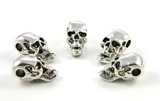 Large Silver Skull Beads For Leather Jewelry, Paracord Bracelets, Knife Lanyards