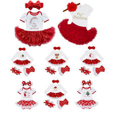 My First Christmas Santa Baby Girl Romper Fancy Tutu Dress Outfit Clothes Set