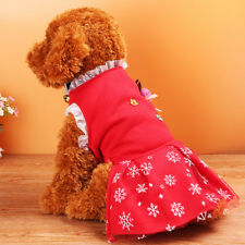 Pet Dog Red Dress Snowflake Skirt Puppy Princess Costume Apparel Fancy Clothes