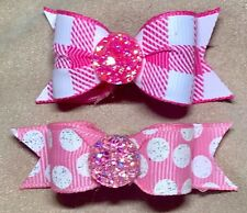 Dog Hair Bows - Hot Pink and White Preppy Plaid Dog Bow and Polka Dots Dog Bow D