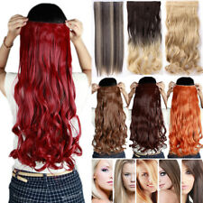 Lady 1PCS Half Full Head Clip in Hair Extensions Straight Curly Wavy Brown FN2