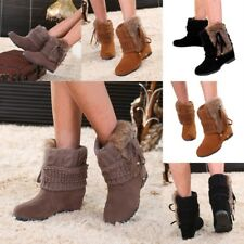 Lady Wedge Heel Weave Ankle Boots Fur Plush Platform Winter Snow Boot Shoes Size