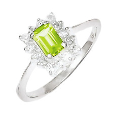 925 Sterling Silver Peridot and Synthetic Cubic Zirconia Emerald Cut Ring