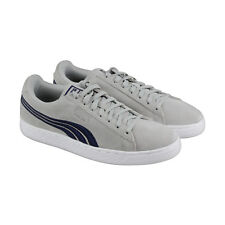 Puma Suede Classic Badge Mens Gray Suede Lace Up Sneakers Shoes