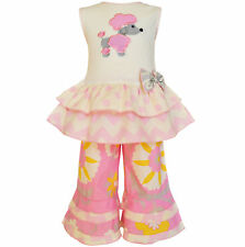 AnnLoren Girls Pink Cream Poodle Tunic and Capri Set sz 12/18 mo-9/10