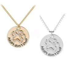 PET DOG CAT ANIMAL RESCUE ADOPT DON'T SHOP PENDANT – GOLD OR SILVER COLOUR BOXED