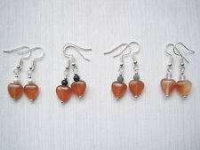 CARNELIAN HEART Gemstone Bead Drop Earrings Moonstone Onyx Moss Agate HEALING